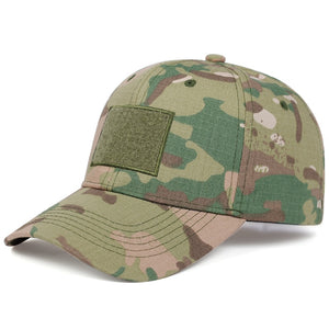 8222 Skull Design Elasticated Army Cap - Camouflage Green