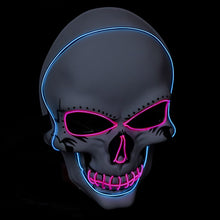 Load image into Gallery viewer, White Skull Mask with Green LED Lights! - 3 Light Modes (2 x flashing)