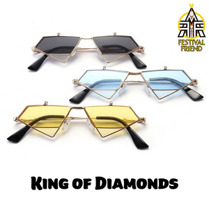 King of Diamonds 👑 – Flip Up Sunglasses – Gold & Red