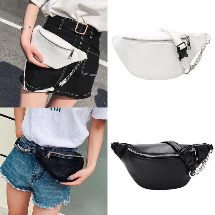 Black or White Leather Look Waist Bag
