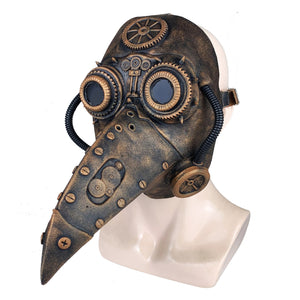 Medieval Steampunk Plague Doctor Mask with Birdlike Beak! - Mechanical - Gold