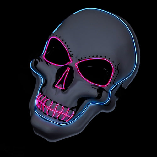 White Skull Mask with Blue & Pink LED Lights! - 3 Light Modes (2 x flashing)