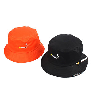 The 'No Chill' Smoker's ♨️ Bucket Hat ft. Convenient Cigarette Holder on Side of Hat - Orange