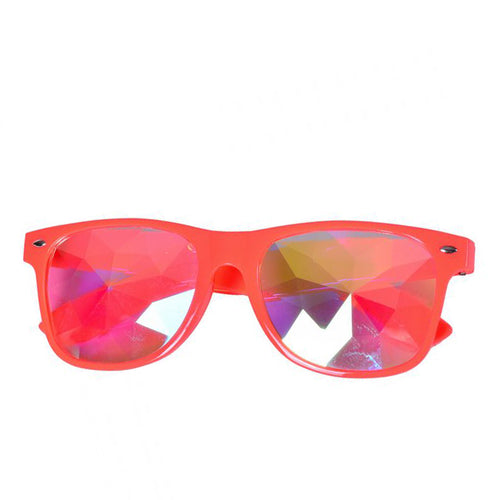 Red Frame Wayfarer Kaleidoscope Glasses