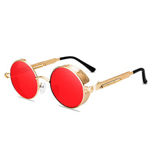 Load image into Gallery viewer, Steaming - Men's Steampunk Party Sunglasses - Gold Frames + Red Lenses