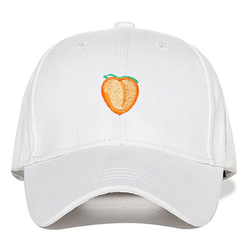 Peach Emblem - Baseball Cap - White