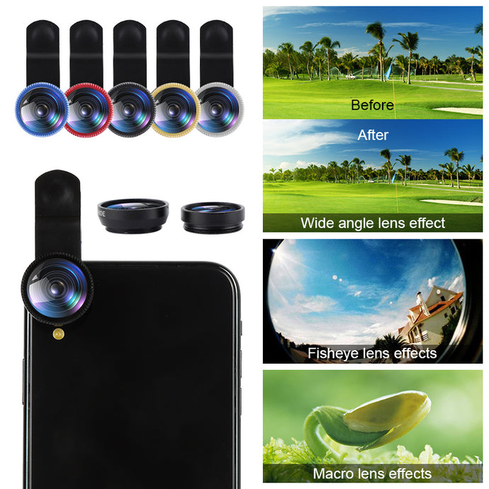 3-in-1 Mobile Phone Camera Lens Kit: Wide Angle, Macro & Fisheye (fits all phones)