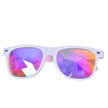 Load image into Gallery viewer, White Frame Wayfarer Kaleidoscope Glasses