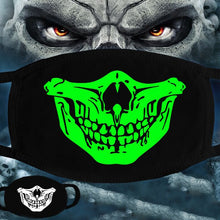 Load image into Gallery viewer, Black & Neon Green Skull & Teeth Snoods - Fat Mouth