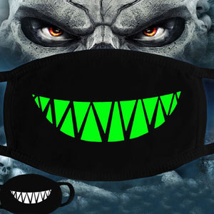 Black & Neon Green Skull & Teeth Snoods - Fat Mouth