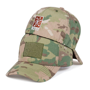 8222 Skull Design Elasticated Army Cap - Black