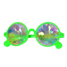 Load image into Gallery viewer, Neon Green Round Frame Kaleidoscope Glasses