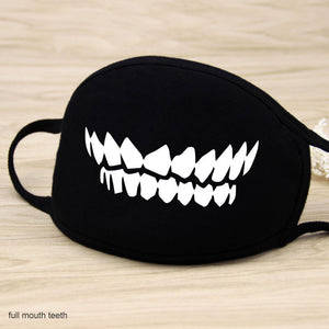Black Grin-Face Mouth Coverings - All Designs (11)