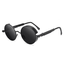 Load image into Gallery viewer, Steaming - Men's Steampunk Party Sunglasses - Black Frames + Black Lenses