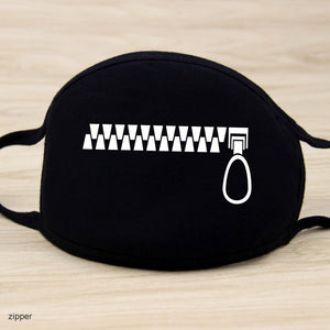 Black Grin-Face Mouth Coverings - Zipper