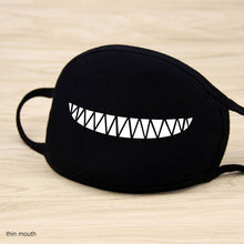 Load image into Gallery viewer, Black Grin-Face Mouth Coverings - Zipper
