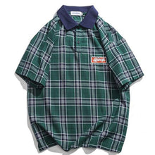 Load image into Gallery viewer, Casual Men's Tartan Polo Shirt - Green