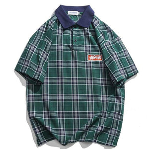 Casual Men's Tartan Polo Shirt - Green