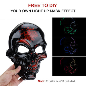 White Skull Mask with Green LED Lights! - 3 Light Modes (2 x flashing)