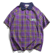 Load image into Gallery viewer, Casual Men's Tartan Polo Shirt - Purple