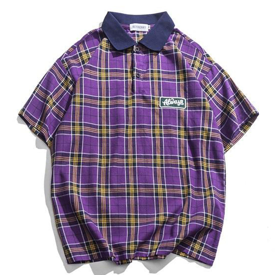Casual Men's Tartan Polo Shirt - Purple