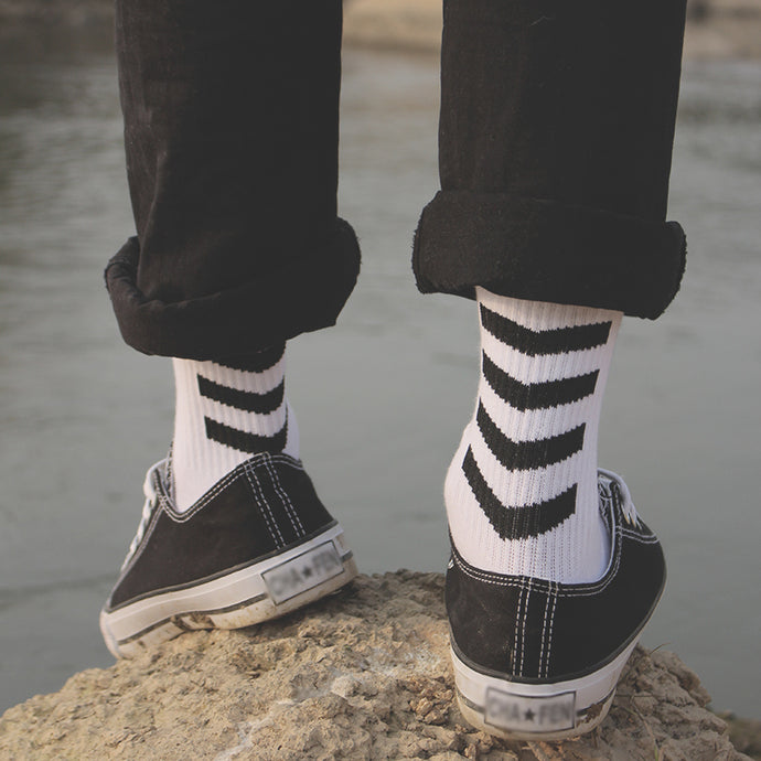 White & Black Skateboarder Socks with Arrows - (2 Designs)