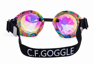 Gold Goggles with Rainbow Kaleidoscope Lenses