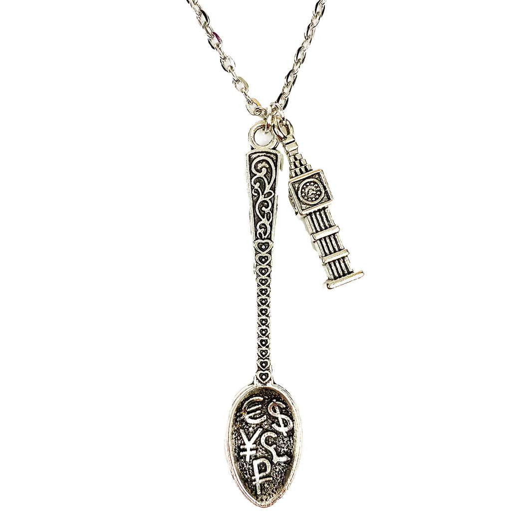 Money Spoon  💷 🕑 with Big Ben Pendant Chain / Necklace 30""