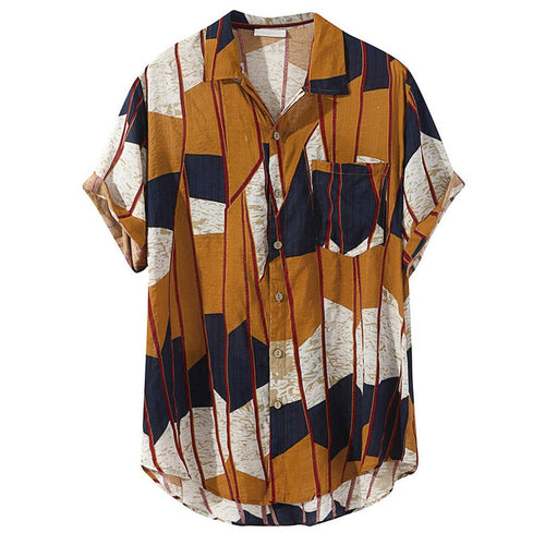 Tan & Blue Mosaic Shirt
