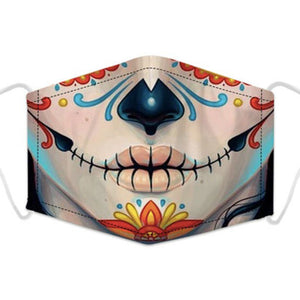 Artistic Mouth Masks with Air Filter - Day of the Dead Chicano Girl