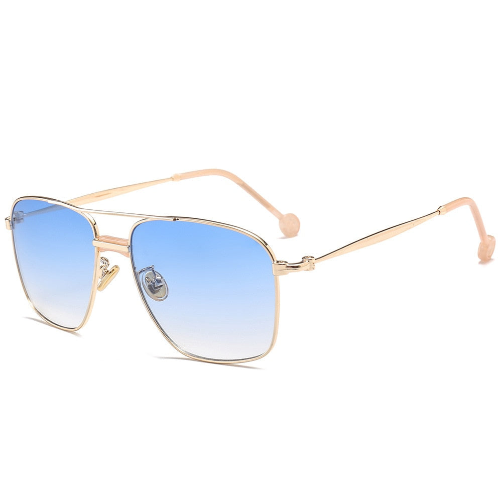 Miami - Men's Sunglasses - Gold Frame + Blue Lenses