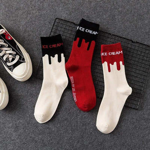Ice Cream Patterned Skateboarding Socks - Red with Black