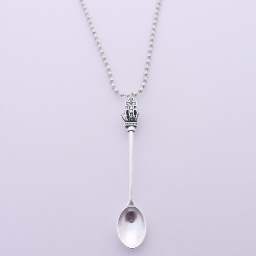 Large Pendant Tea Spoon on Silver Ball Chain / Necklace 24