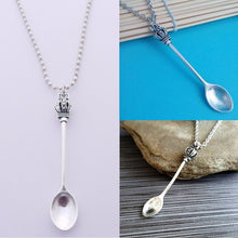 Load image into Gallery viewer, Large Pendant Tea Spoon on Silver Ball Chain / Necklace 24""