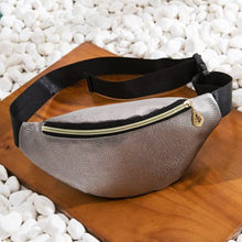 Load image into Gallery viewer, Stylish Litchi Grain Waist Bag with Gold Leaf Zipper - Fish Scale Silver