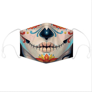 Artistic Mouth Masks with Air Filter - Black with Leopard Skin Lips