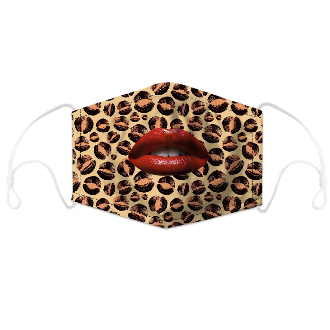 Artistic Mouth Masks with Air Filter - Leopard Skin Red Lips