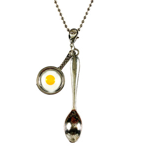 Large Silver Fried Egg Tea Spoon Necklace/Chain 24""