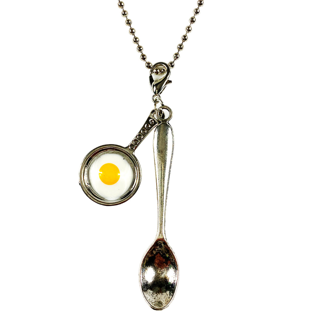 Large Silver Fried Egg Tea Spoon Necklace/Chain 24
