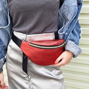 Stylish Litchi Grain Waist Bag with Gold Leaf Zipper - Fish Scale Silver