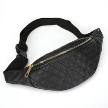 Load image into Gallery viewer, Women's Black Quilted Waist Bag