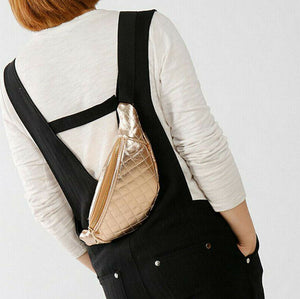 Women's Black Quilted Waist Bag