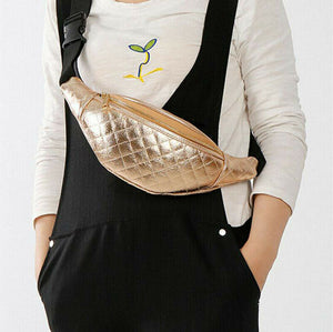 Women's Black Waist Bag with Gold Detail