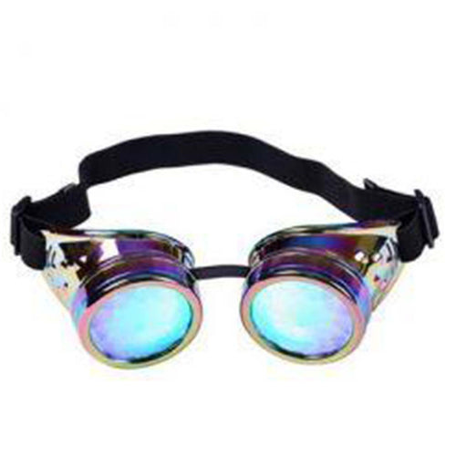 Neon & Silver Steampunk Goggles with Kaleidoscope Lenses