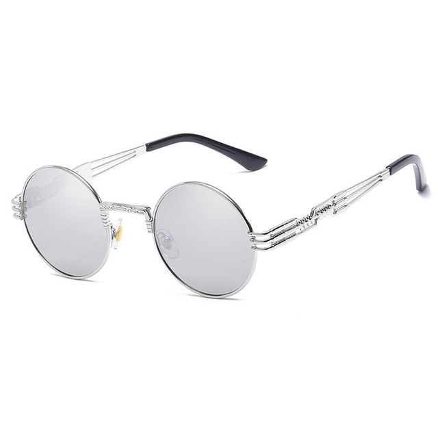 Trapper - Vintage Quavo-Style Sunglasses - Silver Frame + Silver Lenses