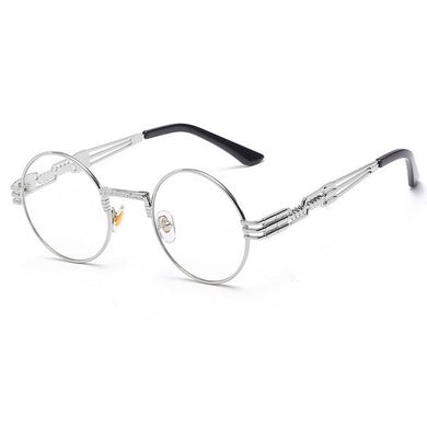 Trapper - Vintage Quavo-Style Sunglasses - Silver Frame + Clear Lenses