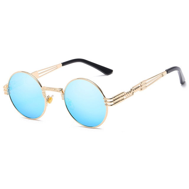 Trapper - Vintage Quavo-Style Sunglasses - Gold Frame + Blue Lenses
