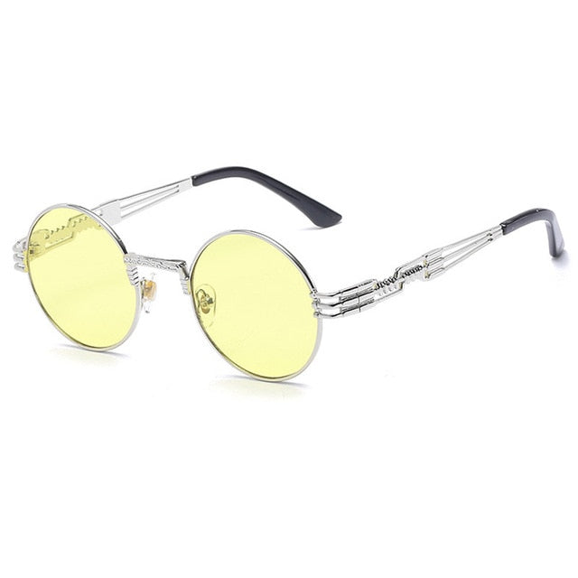 Trapper - Vintage Quavo-Style Sunglasses - Silver Frame + Yellow Lenses