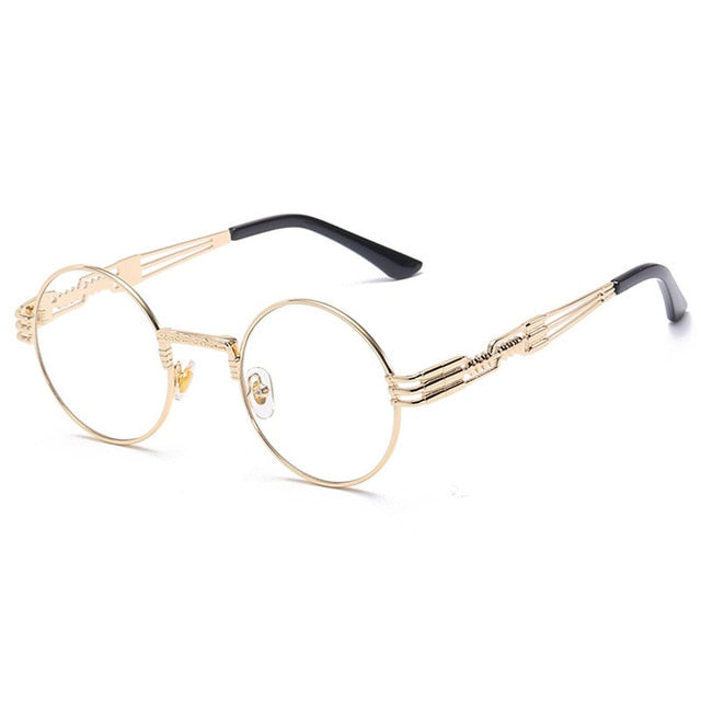 Trapper - Vintage Quavo-Style Sunglasses - Gold Frame + Clear Lenses