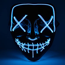 Load image into Gallery viewer, Blue Halloween Light Up Neon Purge Mask
